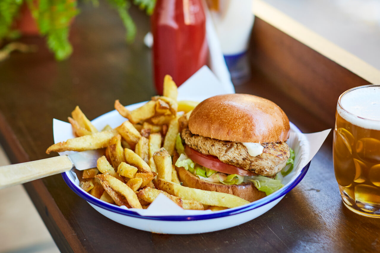 fried chicken burger with chips