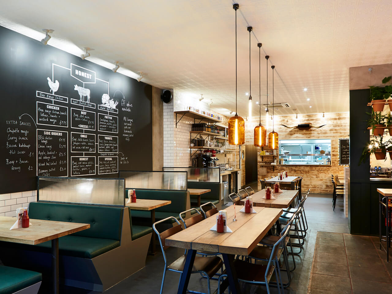 Tiled walls and large tables available at Honest Burgers Ealing
