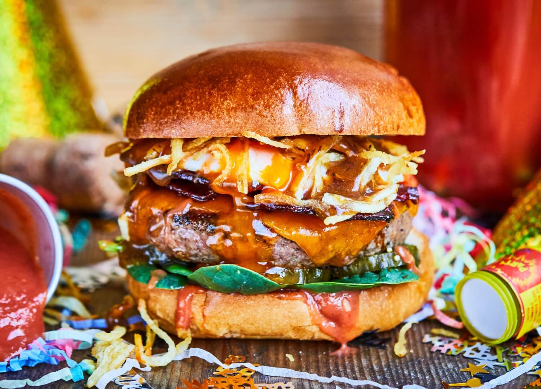 Hangover burger bloody mary ketchup, cheese, bacon and gravy