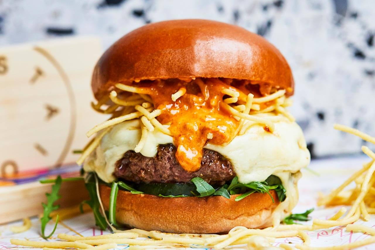 Beef burger with mozzarella and nduja