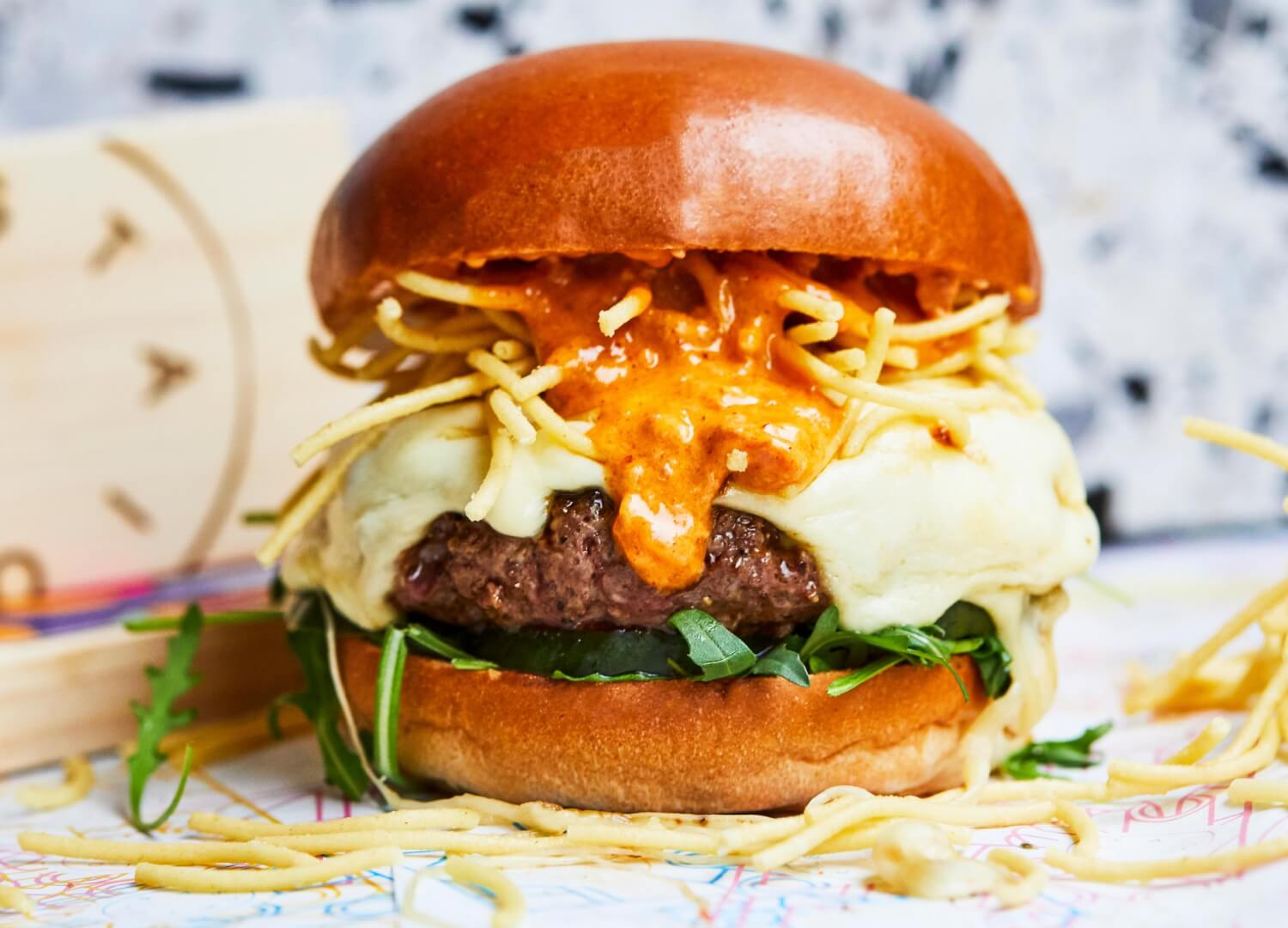 Beef burger with mozzarella and nduja