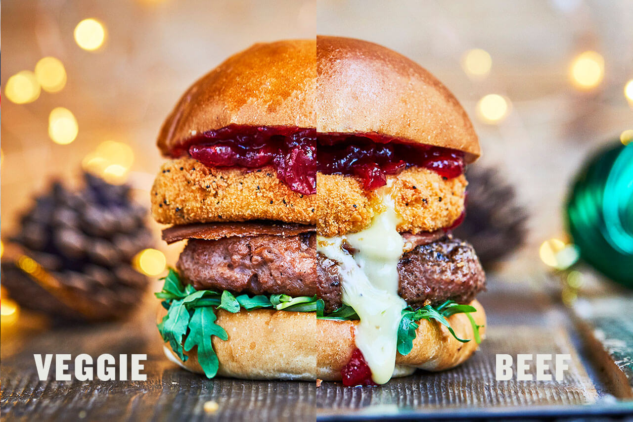 Christmas beef burger with deep fried camembert cheese and bacon