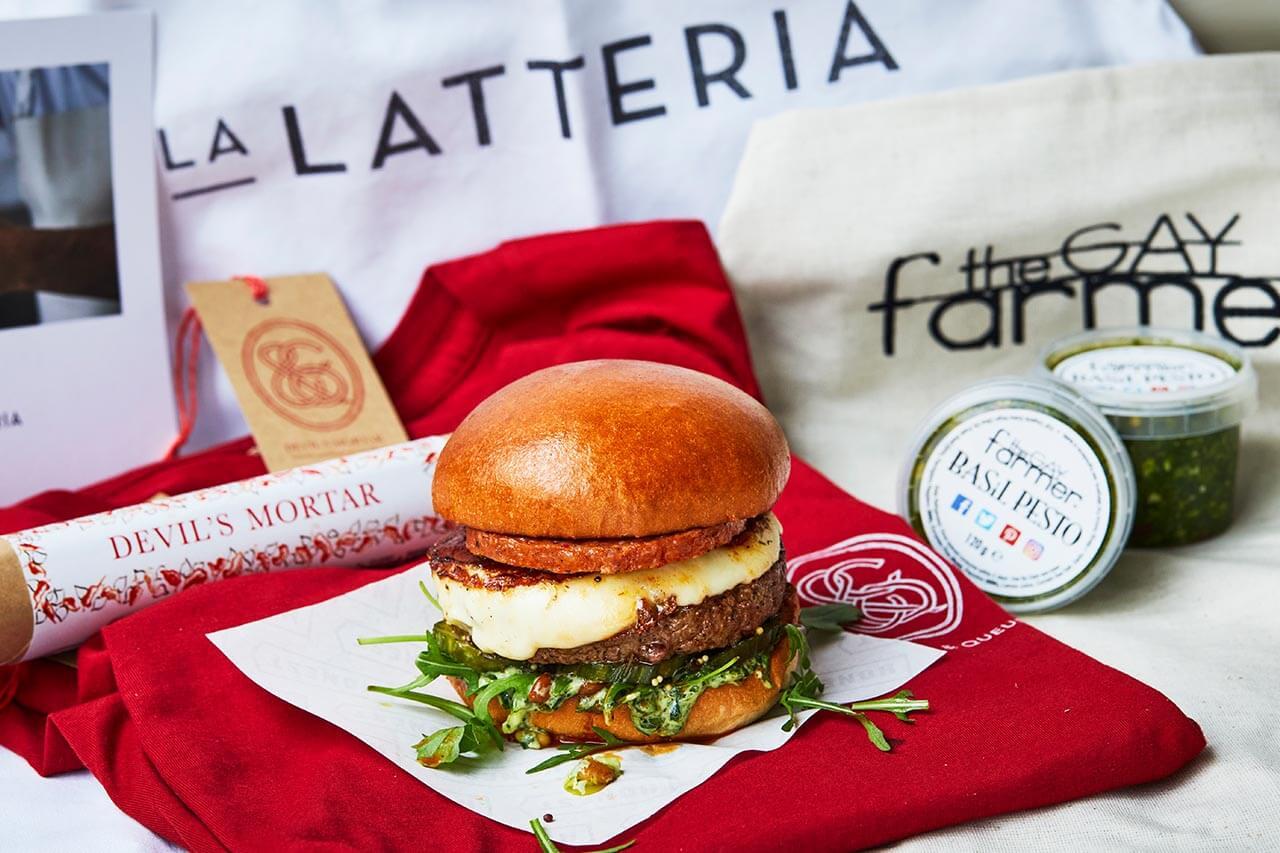 Beef burger with La Latteria smoked mozzarella, Crown & Queue 'Devil's Mortar' nduja, The Gay Farmer pesto