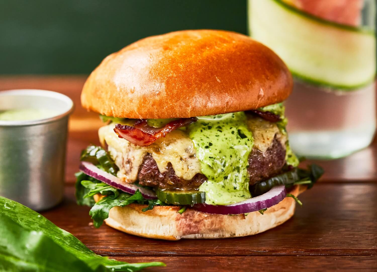 Spring Beef burger with cheddar cheese, wild garlic and bacon