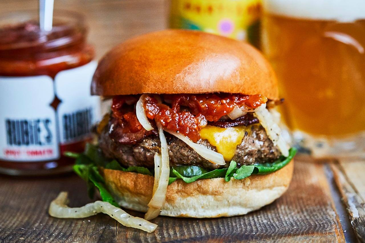 Garrick St - leicester square beef burger with cheese and chutneY