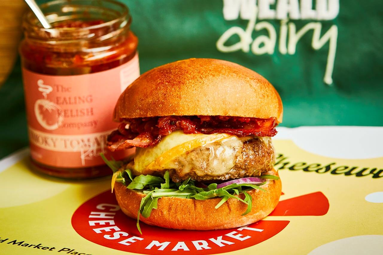 Chiswick beef burger collaboration with Chiswick cheese market