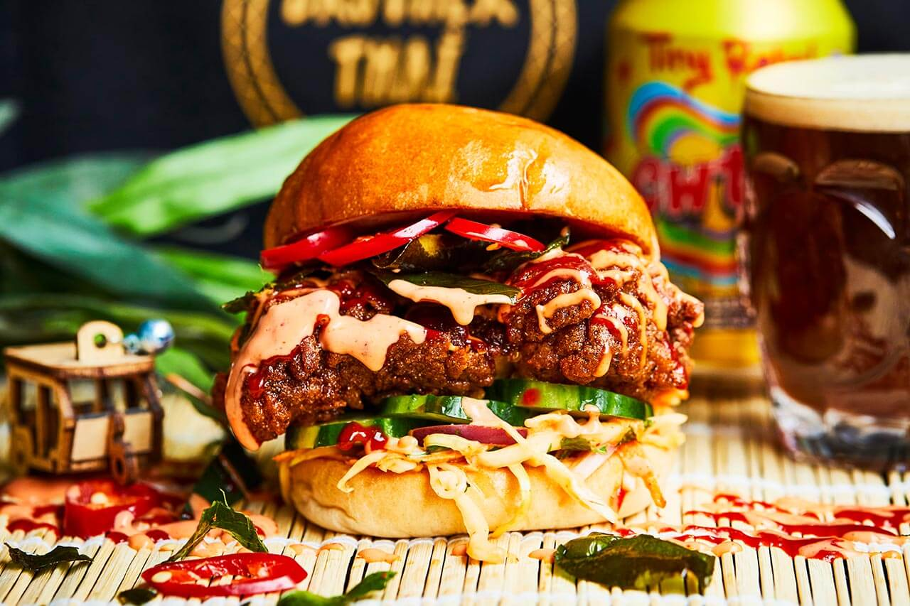 Brother Thai local fried chicken burger with sriracha